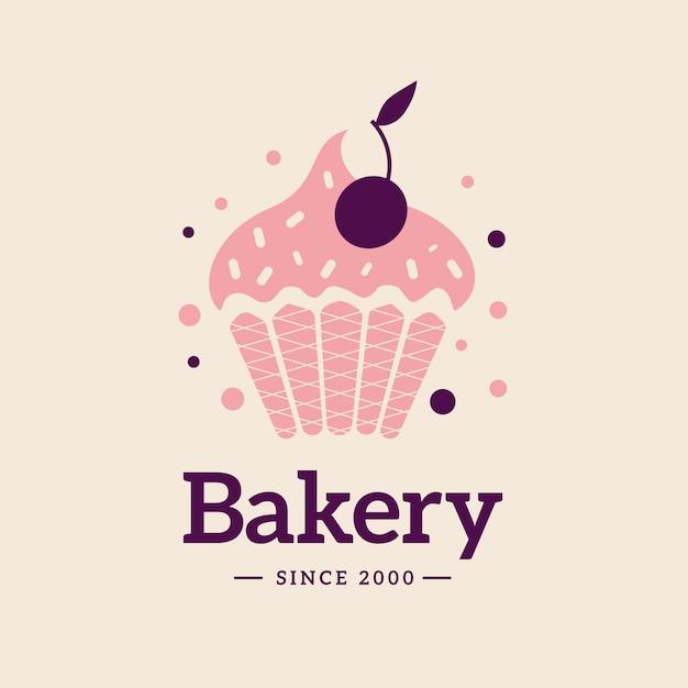 Logotipo de bolo padaria com cupcake Vetor Premium