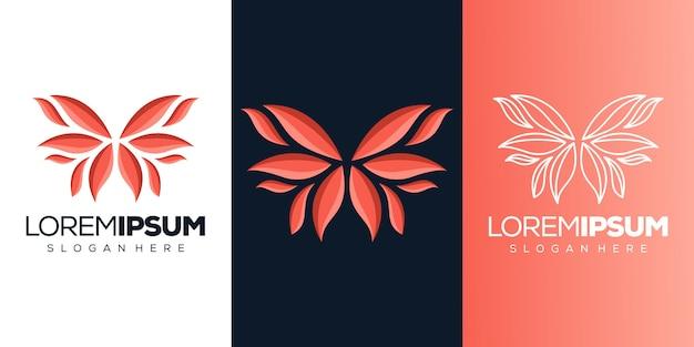 Logotipo de borboleta abstrack Vetor Premium