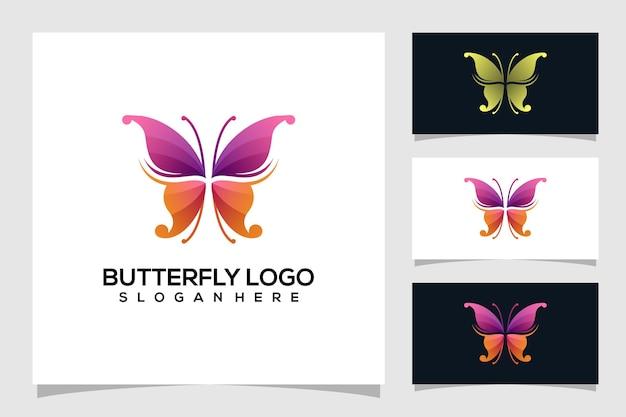Logotipo de borboleta abstrato Vetor Premium