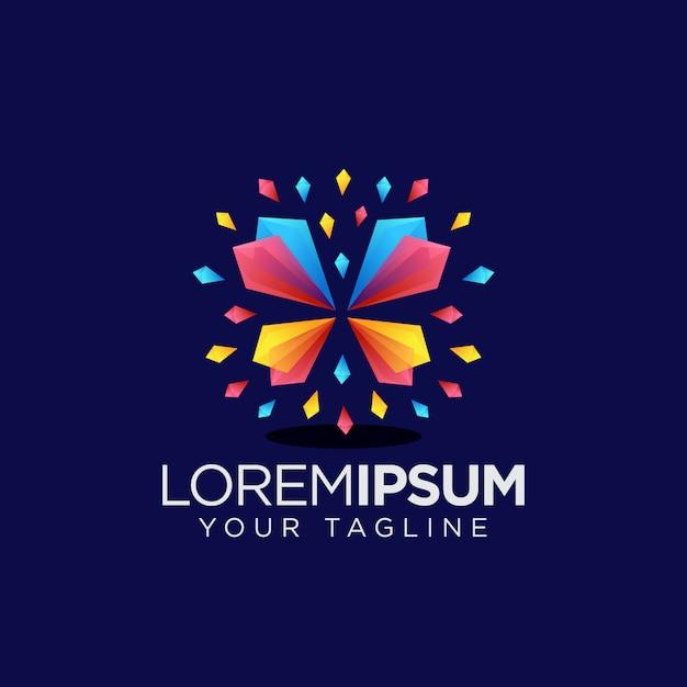Logotipo de borboleta de cristal colorfull Vetor Premium