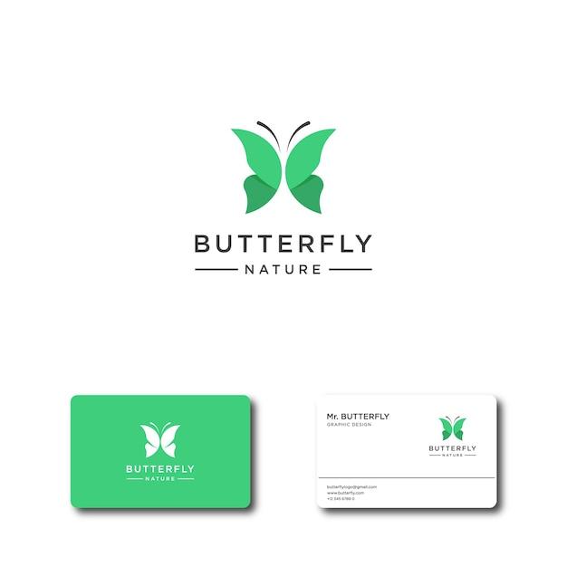 Logotipo de borboleta verde abstrato para logotipo de inspiração e modelos de cartão de visita Vetor Premium