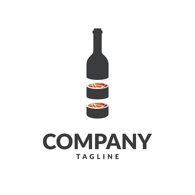 Logotipo de botlle de sushi Vetor Premium
