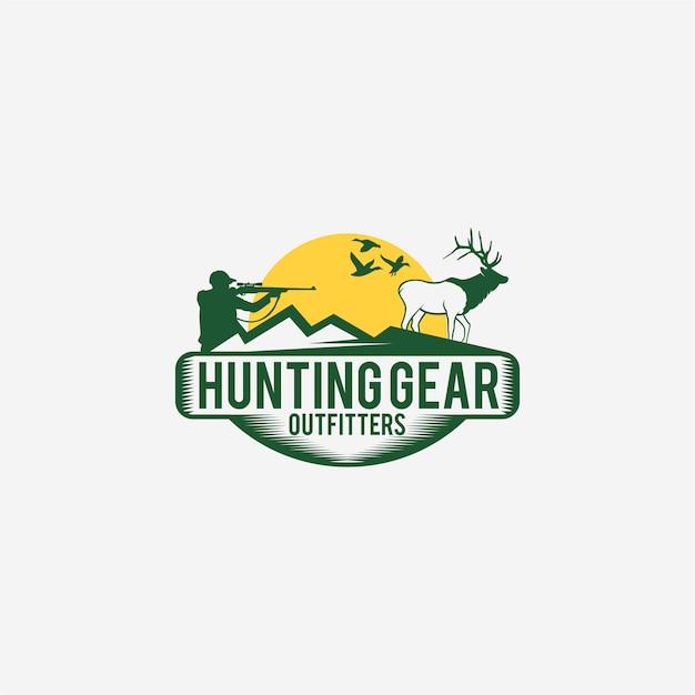 Logotipo de caça com caçador e veado Vetor Premium