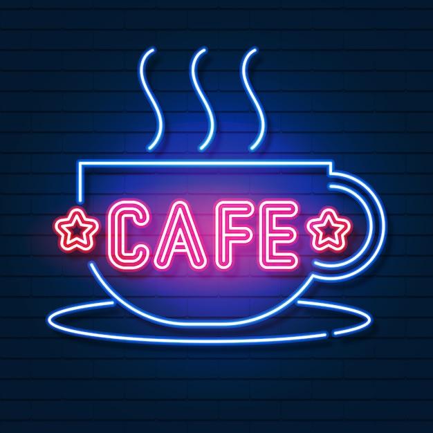 Logotipo de café néon Vetor Premium