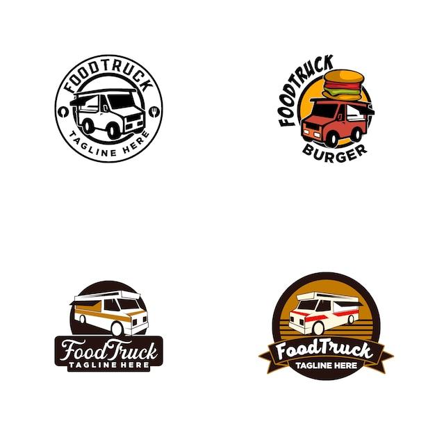 Logotipo de caminhão de comida Vetor Premium