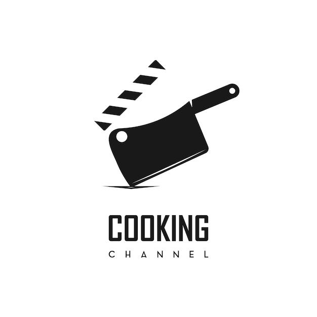 Logotipo de canal de culinária de vetor Vetor Premium