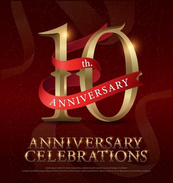 Logotipo de celebração do aniversário de 10 anos Vetor Premium