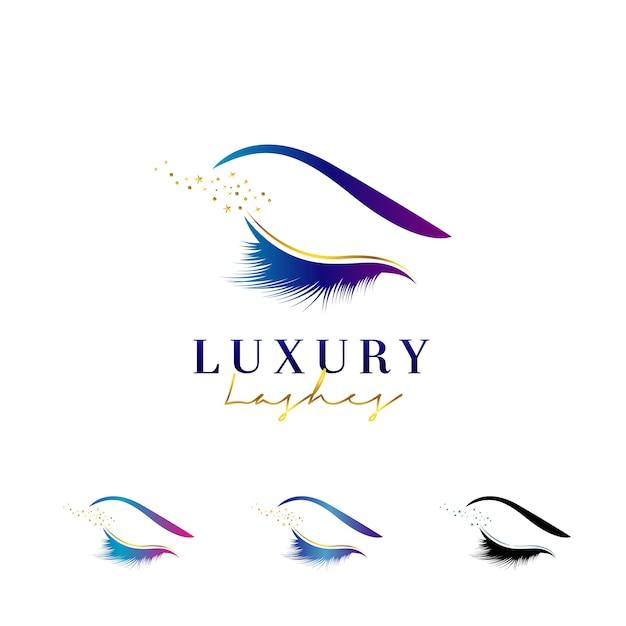 Logotipo de chicotes de olho de luxo Vetor Premium
