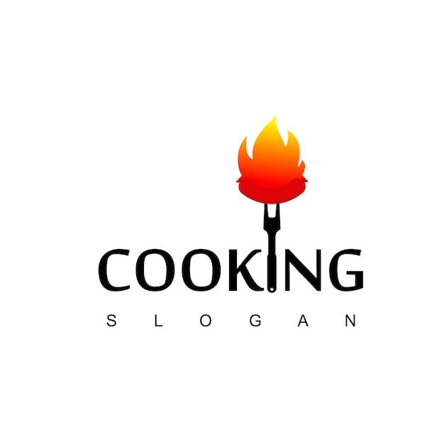 Logotipo de churrasco, ícone de salsicha queimada Vetor Premium