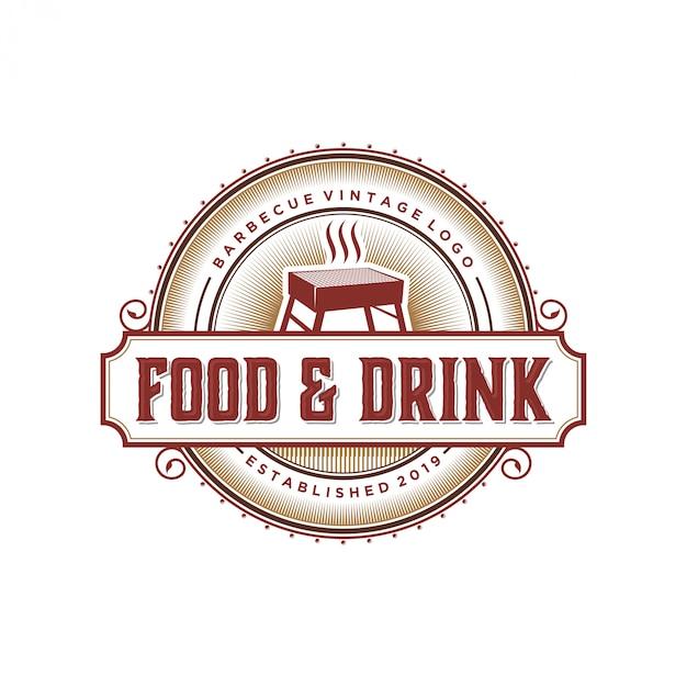 Logotipo de churrasco vintage para restaurante Vetor Premium