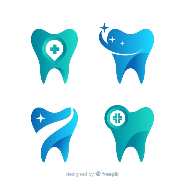 Logotipo de clínica dentária de gradiente Vetor Premium