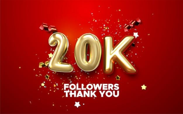 Logotipo de comemoração de 20.000 e 20.000 seguidores. logotipo de aniversário com dourado e faísca cor branca clara isoladas no fundo preto, design para celebração Vetor Premium
