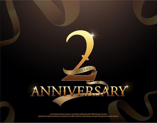 Logotipo de comemoração de aniversário de 2 anos Vetor Premium