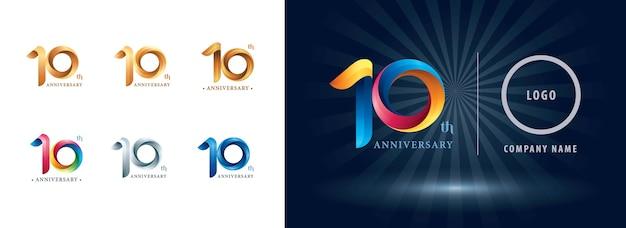 Logotipo de comemoração de dez anos de aniversário, letras numéricas estilizadas de origami, logotipo de fitas de torção Vetor Premium
