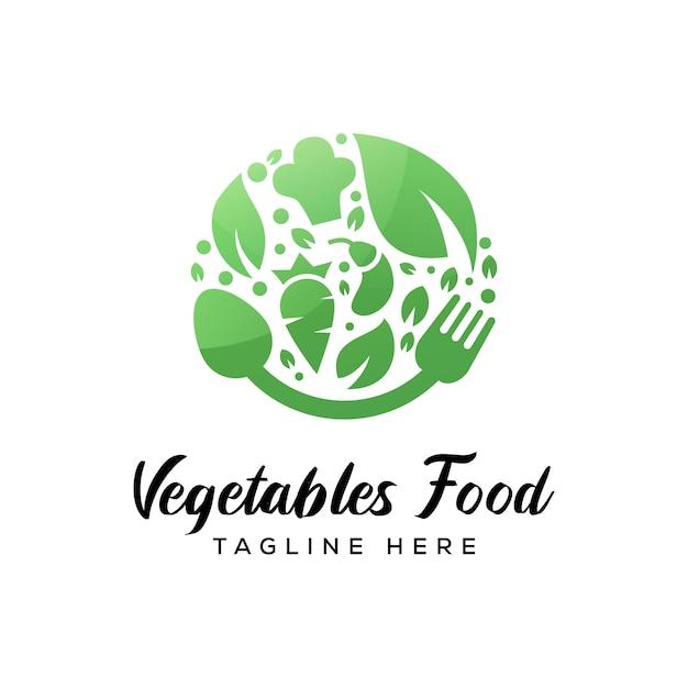 Logotipo de comida de legumes, logotipo de alimentos à base de plantas vetor premium Vetor Premium