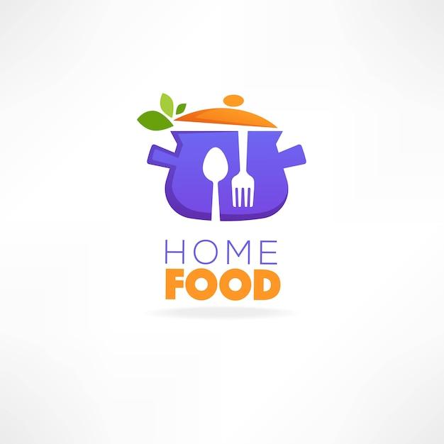 Logotipo de comida em casa, imagem de panela, colher, garfo e ervas frescas Vetor Premium