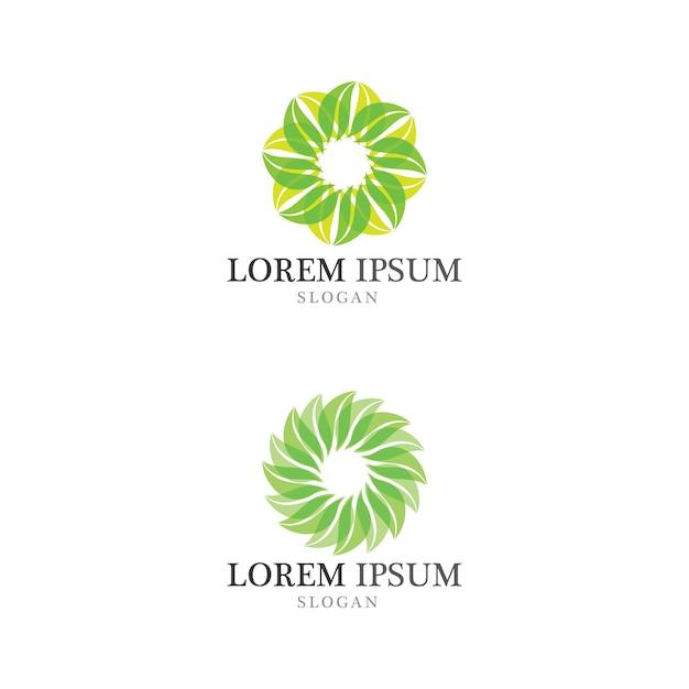 Logotipo de conceito amigável de folha de árvore eco Vetor Premium