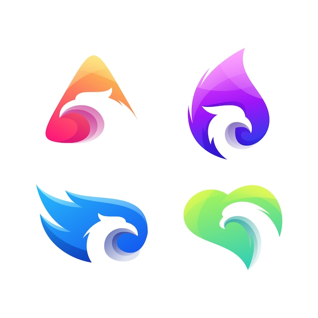 Logotipo de conjunto gradiente de águia Vetor Premium
