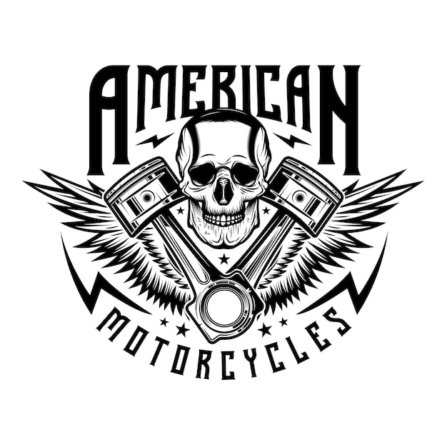 Logotipo de conserto de motocicletas vintage Vetor Premium