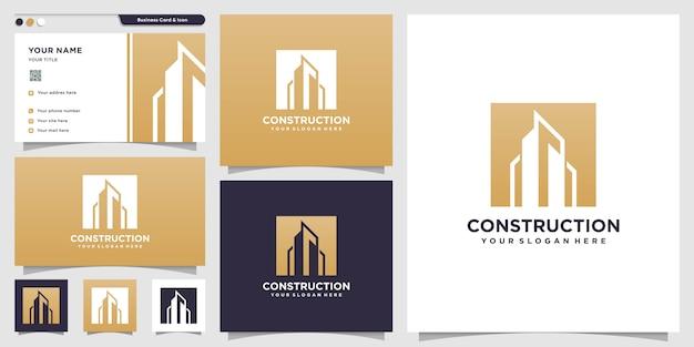 Logotipo de construção com estilo de silhueta e modelo de design de cartão de visita, modelo de logotipo, logotipo de construção, imóveis Vetor Premium