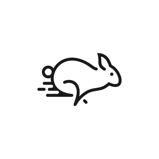 Logotipo de contorno de coelho minimalista Vetor Premium