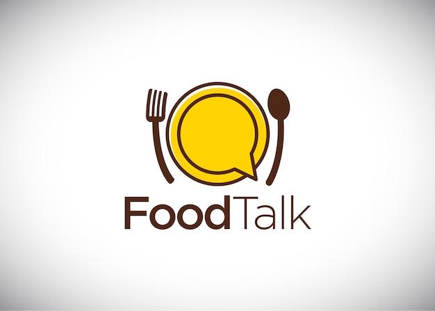 Logotipo de conversa de comida, vetor logo template Vetor Premium