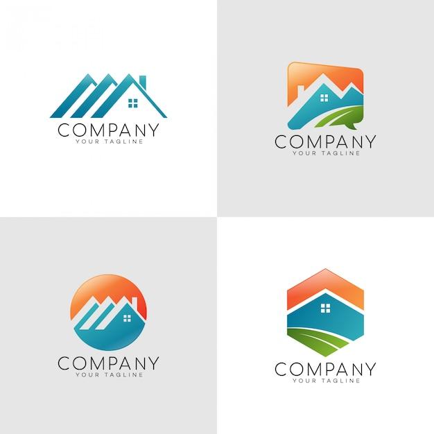 Logotipo de cor em casa Vetor Premium