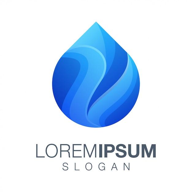 Logotipo de cor gradiente de água Vetor Premium