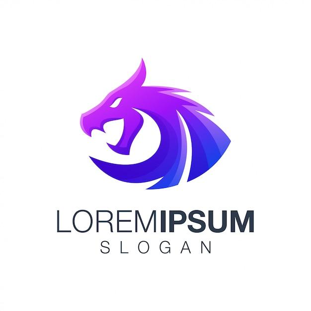Logotipo de cor gradiente de dragão Vetor Premium