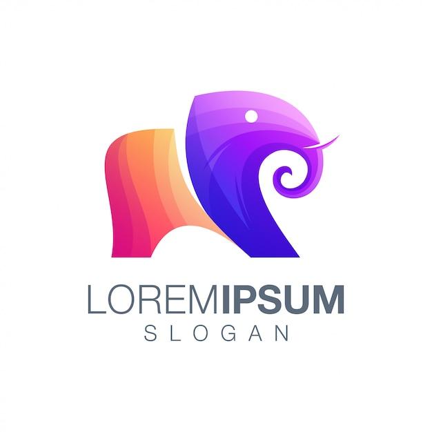 Logotipo de cor gradiente de elefante Vetor Premium