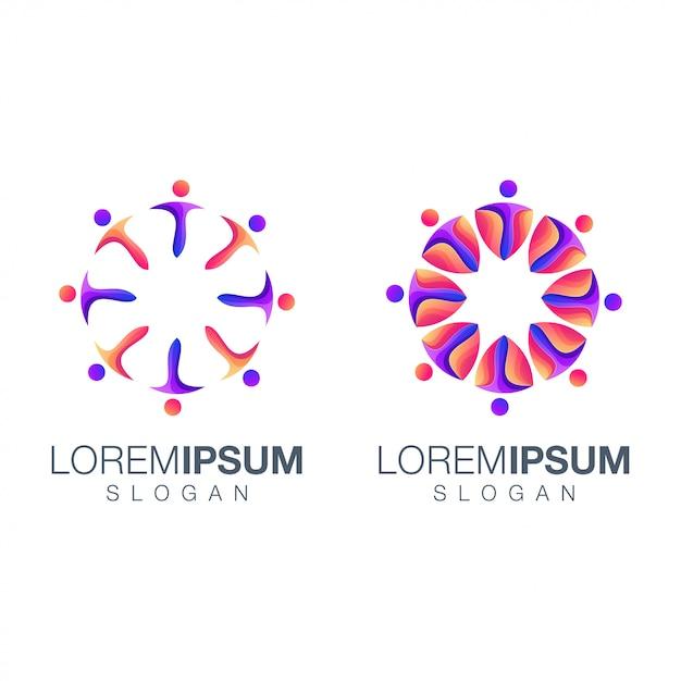 Logotipo de cor gradiente de pessoas Vetor Premium