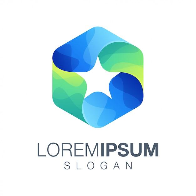 Logotipo de cor gradiente estrela hexágono Vetor Premium
