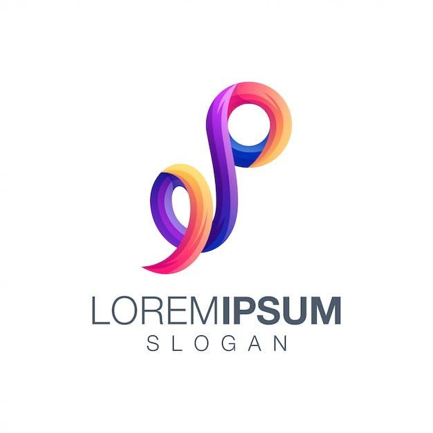 Logotipo de cor gradiente letra p Vetor Premium