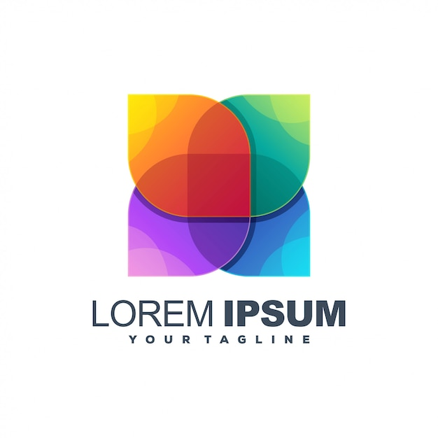 Logotipo de cor impressionante flor Vetor Premium