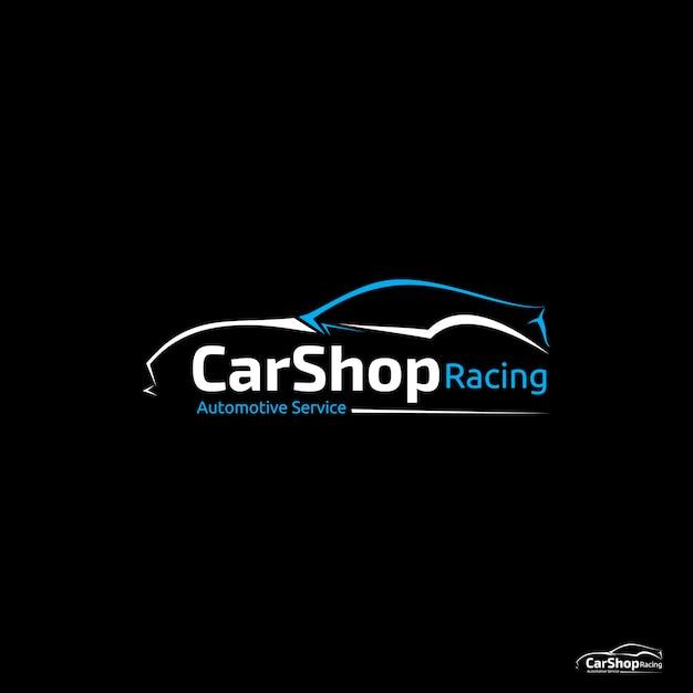Logotipo de corrida de loja de carro Vetor Premium