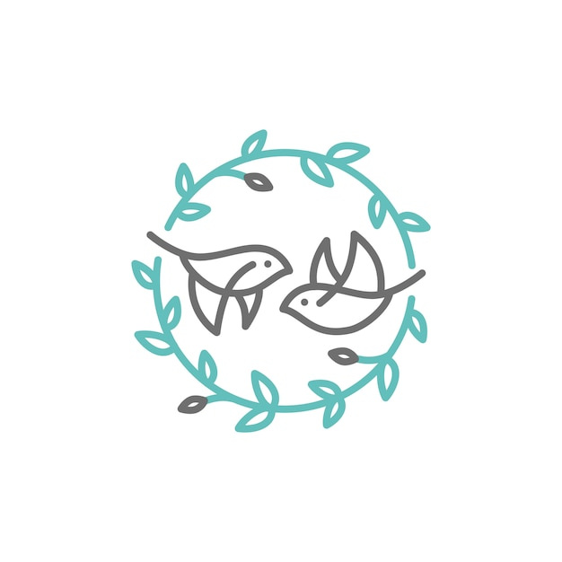 Logotipo de crista de folha de pássaro Vetor Premium