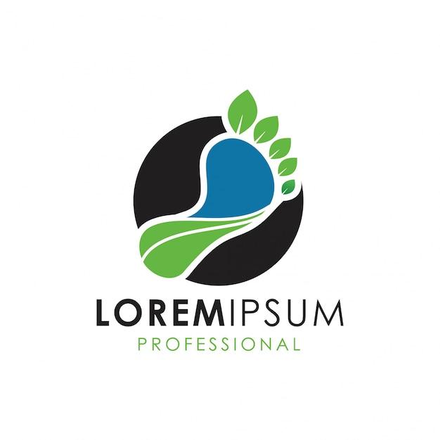 Logotipo de cuidados com a natureza Vetor Premium