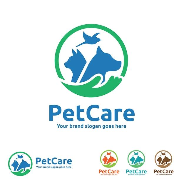 Logotipo de cuidados com cães com símbolos de cães, gatos, pássaros e mão Vetor Premium