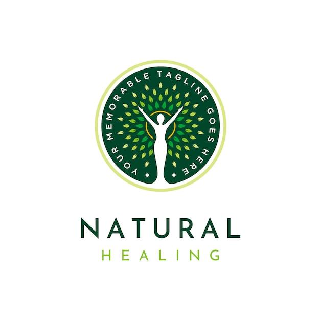 Logotipo de cura natural Vetor Premium