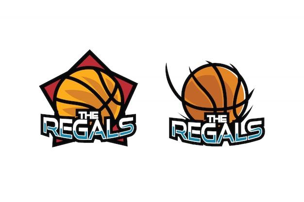 Logotipo de desenhos animados de basquete Vetor Premium