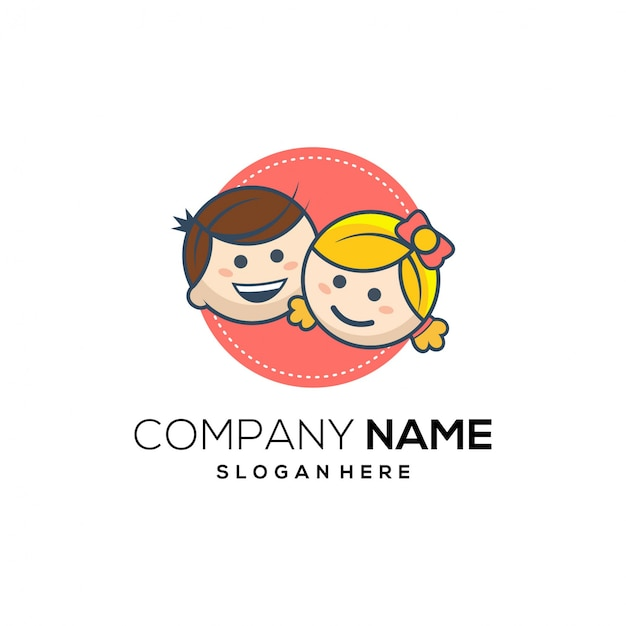 Logotipo de desenhos animados de sorriso de crianças Vetor Premium