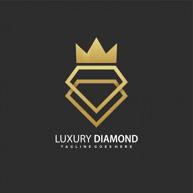 Logotipo de diamante de luxo Vetor Premium