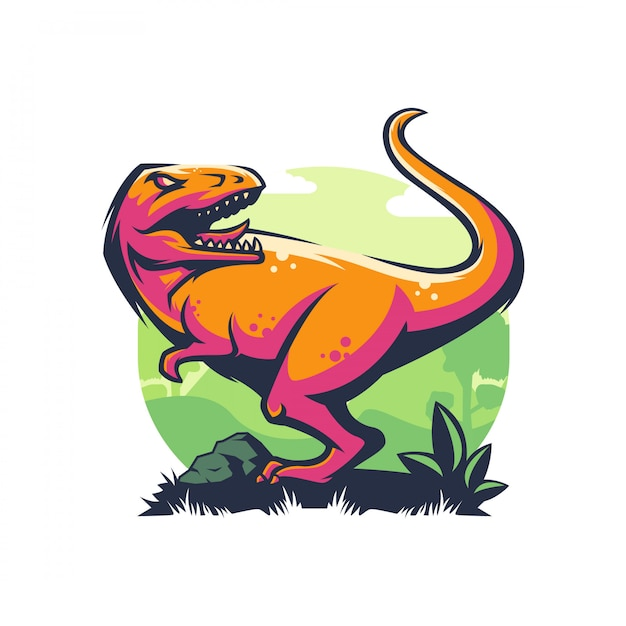 Logotipo de dinossauro com raiva Vetor Premium