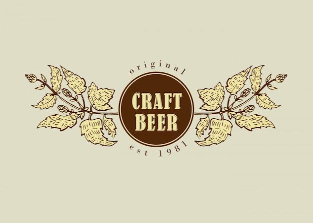 Logotipo de distintivo de arte linha retro vintage original para casa de cerveja, bar, pub, empresa cervejaria, cervejaria, taberna, choperia, cervejaria, cervejaria, restaurante dramshop Vetor Premium