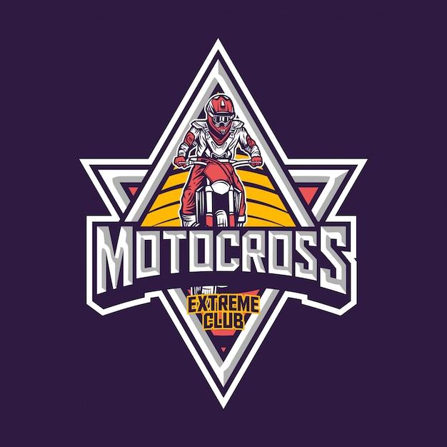 Logotipo de distintivo vintage premium de clube extremo de motocross Vetor Premium