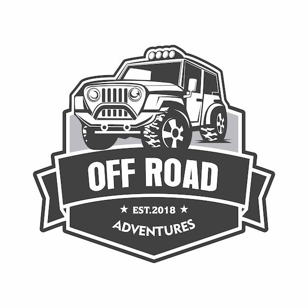 Logotipo de emblema de aventuras fora de estrada Vetor Premium