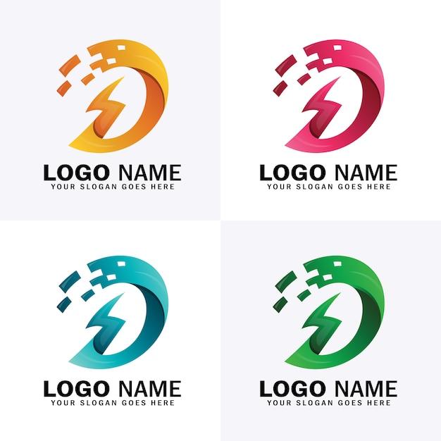 Logotipo de energia de energia letra d com quatro opções de cores diferentes Vetor Premium