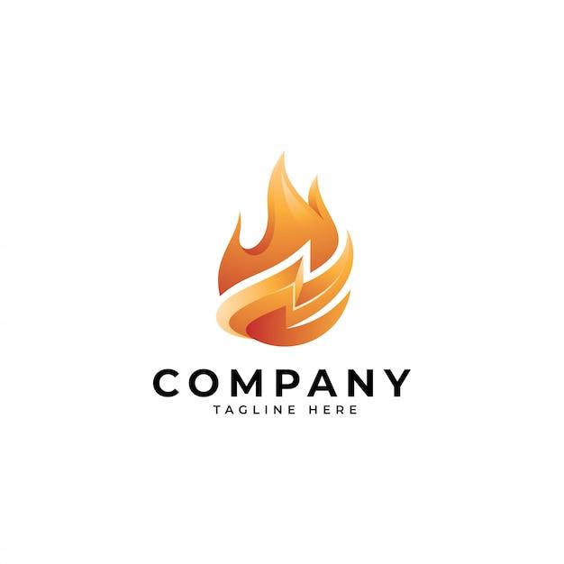 Logotipo de energia de fogo Vetor Premium