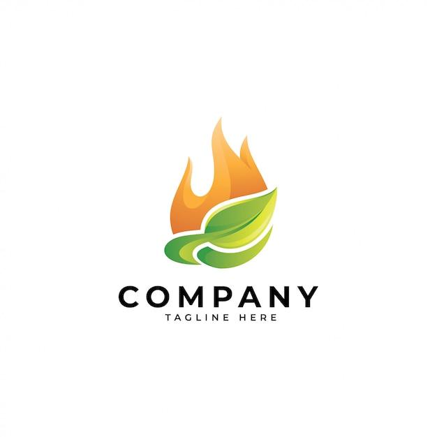 Logotipo de energia moderna natureza 3d, fogo e ícone de folha Vetor Premium