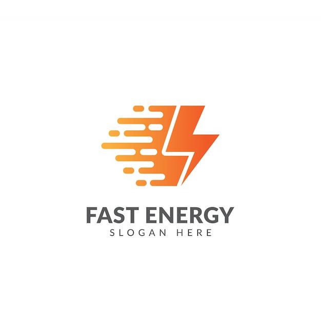 Logotipo de energia rápida ou modelo de ícone Vetor Premium